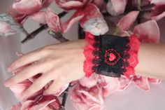 Lace bracelet Lace Cuff red and black Lace by NevelynkaNasha, $69.00