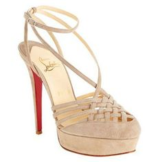 Beige Christian Louboutin Tres Francaise Sandals 140mm Suede