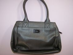 Nine West Purse Medium Satchel Top Handle Handbag Gray Faux Leather NWT see desc #NineWest #Satchel