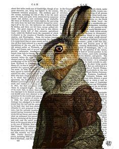 Madam Hare Portrait Rabbit Art Print Digital by FabFunky on Etsy, $18.00