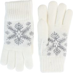 Fits Chenille Lined Snowflake Gloves ($15) ❤ liked on Polyvore featuring accessories, gloves, white and white gloves
