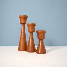 Vintage Danish Modern Turned Wood Candle Holders