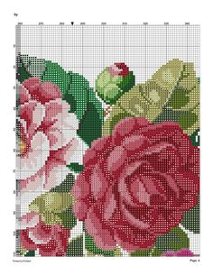5 (541x700, 189Kb) Cute Cross Stitch, Cross Stitch Rose, Cross Stitch Flowers, Cross Stitch Charts, Cross Stitch Patterns, Knitting Patterns, Magnolia Flower, Cutwork, Beautiful Patterns