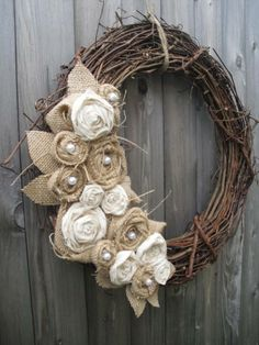 Burlap flowers on grapevine wreath