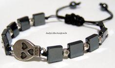 Halloween Gothic Skull Men's Women's Hematite Beaded Bracelet with Silver tone Halloween Men, Halloween Jewelry, Greek Jewelry, Gothic, Jewelry Design, Women Jewelry, Skull, Beaded Bracelets, Sterling Silver