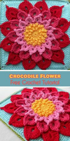 """Crocodile Flower Square Free Tutorial and Crochet Pattern. This beautiful afghan block is magical. This pattern, created by the gifted designer Joyce D. Lewis, can make anon-crocheter fall in love so deeply, that they will soon became a crocheter. Really! The square size is 12"""" and you can use it as for blanket, tote bag or as a centre square and more. #freecrochetpatterns #crochetsquare #grannysquare"""