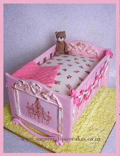 Antique Cradle Cake with hand painted roses ~ - by MelSugarMama @ CakesDecor.com - cake decorating website