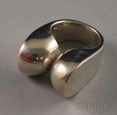 Modernist Sterling Silver Ring, Takashi Wada, with : Lot 321 Silver Jewelry Box, Diamond Jewelry, Silver Bracelets, Silver Earrings, Jewelry Model, Modern Jewelry, Arrow Jewelry, Mens Sterling Silver Necklace, 925 Silver