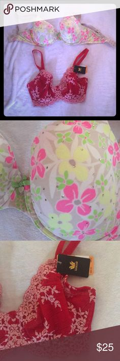 Victoria Secret Wacoal 34DD bras Wacoal bra new with tags never worn. VS bra is floral with rhinestones. Very pretty and nice condition still. Wacoal Intimates & Sleepwear Bras