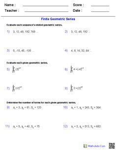Worksheets Sequences And Series Worksheets sequence and series worksheets algebra 2 on pinterest these generators allow you to produce unlimited numbers of dynamically created sequences worksheets