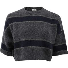 Brunello Cucinelli Wide Stripe Pullover Top (4.840 BRL) ❤ liked on Polyvore featuring tops, sweaters, shirts, crop top, navy sweater, cropped pullover sweater, cropped tops, navy blue crop top and cut loose shirt