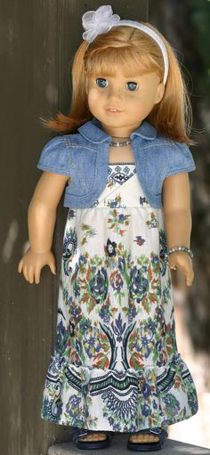 American Girl Doll Clothes - Boarder-Print-Blue Maxi Dress, Denim Bolero with Bling, Beaded Necklace/Bracelet and Flower Headband American Doll Clothes, Ag Doll Clothes, Doll Clothes Patterns, Doll Patterns, American Girl Diy, America Girl, Journey Girls, Sewing Dolls, Little Doll