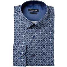 Neat Print Cotton Shirt (€130) ❤ liked on Polyvore featuring men's fashion, men's clothing, men's shirts, men's casual shirts, flower print mens shirt, men's floral button up shirts, mens button down collar shirts, mens floral shirts and mens lined flannel shirts