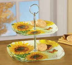 Floral Sunflower 2 Tier Glass Serving Tray from Collections Etc.