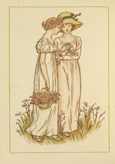 Two girls with basket of flowers - Kate Greenaway's Almanack for 1885