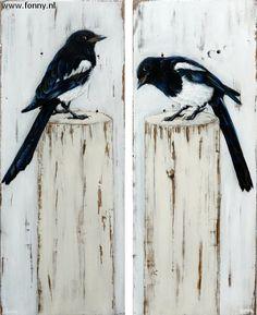 Ekster / Magpie 1 & 2 - à 21 x 51 cm | vogel | oud hout | schilderij | dieren | bird | old wood | painting | animals |