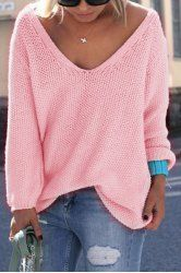 Simple V Neck Long Sleeves Pure Color Loose-Fitting Sweater For Women (PINK,XL) | Sammydress.com Mobile