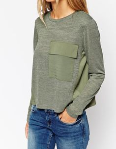 Image 3 of ASOS TALL Swing Top in Texture and Woven Mix with Pocket