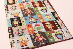 Large Modern baby blanket Robots LIMITED by heidiandfinnstudio, $31.00