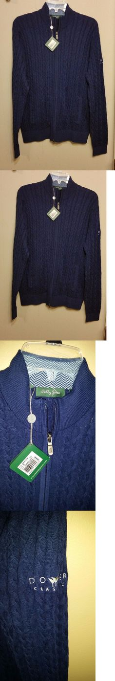 Sweaters 11484: New Bobby Jones Men'S Sweater Pullover Cardigan Cotton Cashmere 2 Way Zip Navy M -> BUY IT NOW ONLY: $36.99 on eBay!