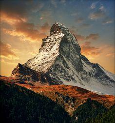 Greeting the sun, the Matterhorn, Swiss Alps