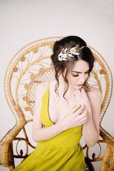 Mains peintes or serre-tête bandeau floral bandeau par TessaKim
