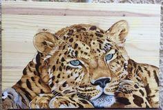 TABLEAU PEINTURE panthère léopard asie pyrogravure Animaux  - Panthère de l'Amour