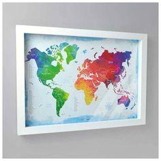 Quadro Mapa-múndi colorido com100 pins-alfinetes para marcar viagem. Vem com tampa de vidro e fácil sistema de abertura. 44,8x32,5x3,3cm (LxAxP)