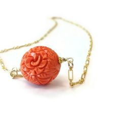 Coral Single Bead Necklace Coral Jewelry Coral by jewelrybycarmal