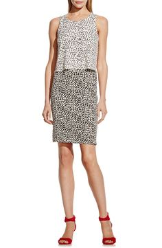 Vince Camuto 'Shadow Forms' Print Block Sleeveless Popover Dress