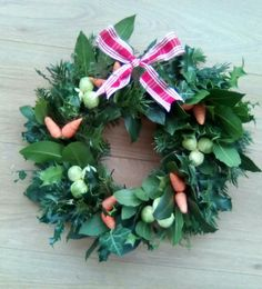 Sprout and carrot Christmas wreath