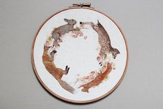 Inspired by spring flora and fungus, 21-year-old Emillie Ferrisembroiders one-of-a-kind hoops that feature detailed rabbits, foxes, and mushrooms. The works are handstitched and kept on their original frame, drawing the viewer's attention to the amount of handiwork that went into each animal's coat