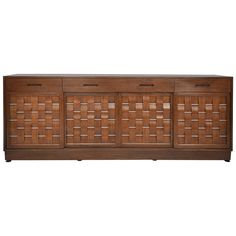 Dunbar Woven Front Credenza in Walnut by Edward Wormley | From a unique collection of antique and modern credenzas at https://www.1stdibs.com/furniture/storage-case-pieces/credenzas/