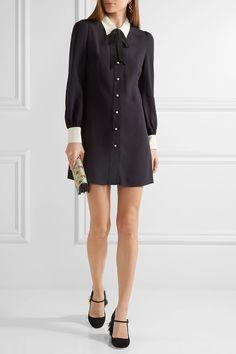 Miu Miu | Sable georgette shirt dress | NET-A-PORTER.COM