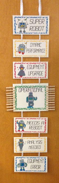 A robot version of a classroom behavior clip chart. Robot Classroom, Classroom Charts, 3rd Grade Classroom, Classroom Behavior, School Classroom, Classroom Themes, Classroom Activities, Classroom Management, Teach For America