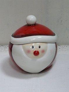 Weihnachten Keramik Dose Bonboniere WEIHNACHTSMANN mit Deckel