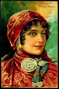 French Tradecard - Chilean Beauty @@@.....http://www.pinterest.com/marinagomor/posters-labels-prints/