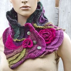 Crochet Scarf Freeform crochet Roses Button Womens scarf Capelet Neck Warmer…