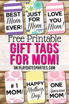 Make Mom smile extra wide this year by adding one of these colorful and modern free printable Mother's Day gift tags to your present. They're perfect for packages of all sizes, or even for a pretty bouquet of flowers. #mom #mothersday #printables #gifts #pdpcelebrates  https://playdatesparties.com/free-printable-mothers-day-gift-tags/