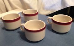 Set Of 4 Homer Laughlin White/Maroon Restaurant Ware Coffee Cups **EUC** #HomerLaughlin