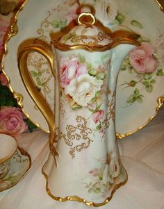 Haviland Limoges - Chocolate Pot Set - Hand Painted - Roses - Artist Signed - Dated 1901