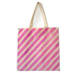 Hand Painted Diagonal Striped Tote (Pink) from LoveM.co $10.00