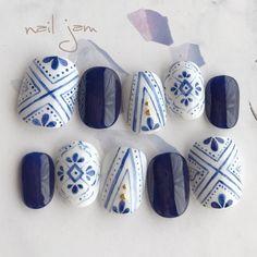 Instagram→→→@a.nailjam #夏 #パーティー #海 #梅雨 #ハンド #ワンカラー #エスニック #ショート #ホワイト #ネイビー #ジェルネイル #ネイルチップ #nail jam #ネイルブック Pedicure Designs, Manicure E Pedicure, Fingernail Designs, Gel Nail Designs, Toe Nail Art, Toe Nails, Mexican Nails, Japan Nail Art, New Years Nail Art