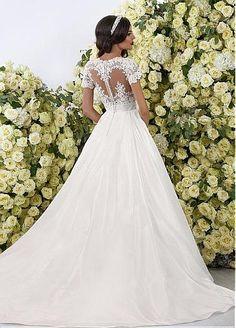 Charming Taffeta Jewel Neckline See-through A-lineWedding Dresses With Lace Appliques