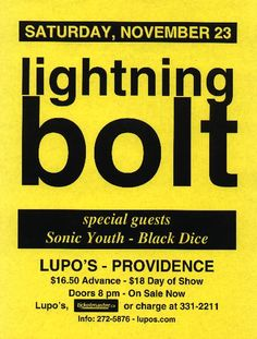 Lightning Bolt / Sonic Youth / Black Dice , That would have been a crazy ass show.