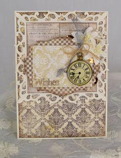 card clock time Spellbinders fleur de lis nestabilities paper from Riddersholm Design: Kort - blomsterbox Gitte