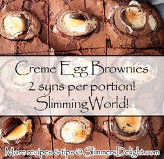 Creme Egg Brownies – Slimming World - CC_SlimmingWorld - Slimming World Brownies, Slimming World Deserts, Slimming World Puddings, Slimming World Tips, Slimming Word, Slimming World Recipes Syn Free, Slimming World Carrot Cake, Slimming World Taster Ideas, Slimming Eats