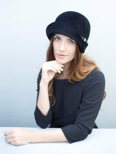 Cloche Hat in Black, Ear Warmer Felt Hat, Made to Order 1920s Style Hats, Choice of Colours - Morven