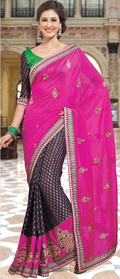 #Rani Pink and Navy Blue Art #SilkSaree with Blouse @ $77.42