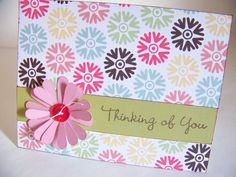 Thinking of You Card Homemade Hand Stamped by WhisperingWildflower, $3.50